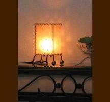 バリ島手作り インテリアランプ レザー 白