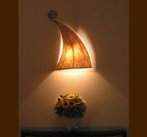 バリ島手作り インテリアウォールランプ ツリースキン クレシー型