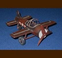 手作りブリキ製乗物模型 単葉機ミニ 茶
