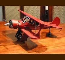 手作りブリキ製乗物模型 複葉機 赤